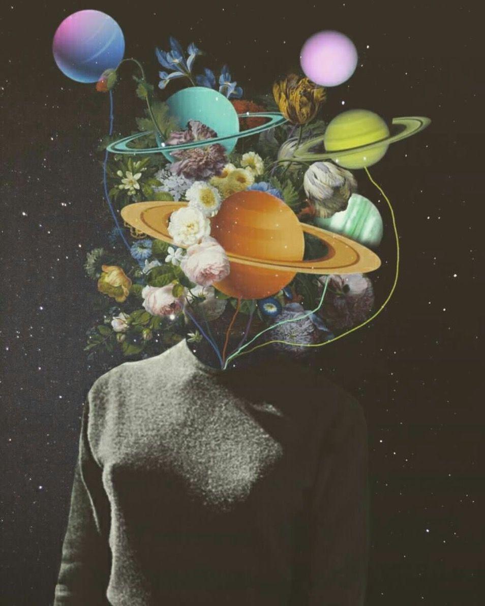 Mujer con mente de universo. Tan maravillosa y llena de misterios.   Fondo de arte, Psychedelic art, Arte de collage