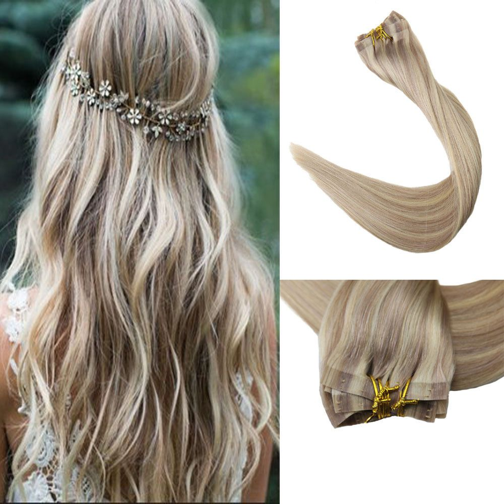 Full shine pcs color ash blonde and blonde seamless clip