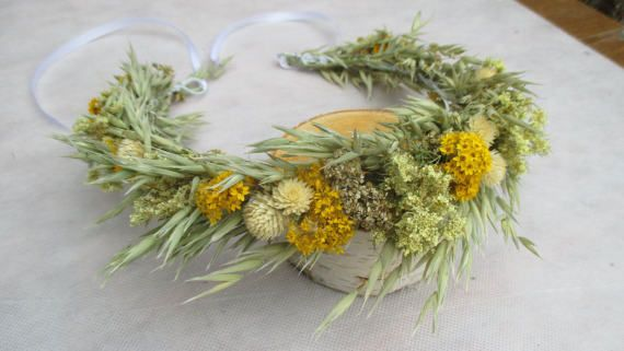 Rustic head wreath, bridal head wreath, dried flower wreath, rustic head crown, wedding wreath, dried flower headband, rustic hair accessory #flowerheadwreaths