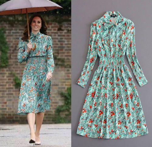 170603cab85a 2018-Kate-Middleton-New-Floral-Print-A-line-Long-Sleeve-Vintage-Dress