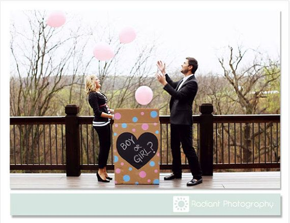 Custom Made Baby Gender Cardboard Box Balloon Announcement I love this idea