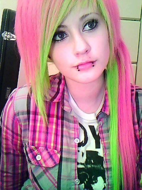 Long Pink And Lime Green Hair Piercings Neon Plaid Beauty Style Www Bodycandy Com Scene Hair Hair Styles Tumblr Hair