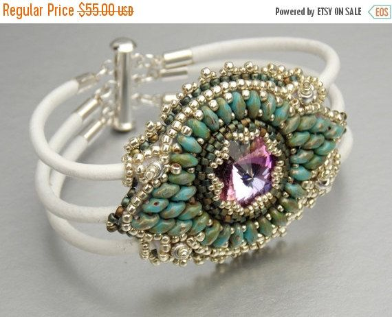 Check out Birthday discount Marrackesch,  Bead Embroidery, Bracelet , Statement cuff, Seed bead bracelet, Skinned bracelet , Silver, Turquoise, White, on vicus