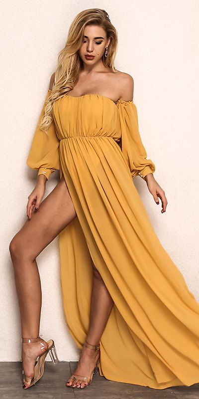 Long Sleeve Yellow Chiffon Maxi Dress Beach Party Dress With Split - Chiffon maxi dress, Spring dresses women, Yellow maxi dress, Long dress casual, Beach maxi dress, Bodycon dress parties - Still wondering where to shop the very best quality yellow chiffon long sleeve prom dress  Welcome to Luluslly com, we promise to give you the best price, fast delivery worldwide