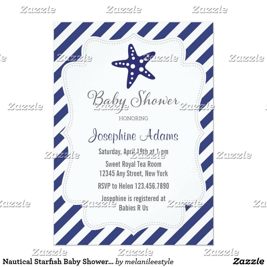 Nautical Starfish Baby Shower Invitation Navy Blue | Shower invitations