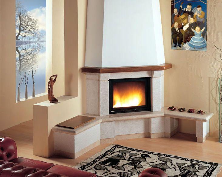 Resultado de imagen de chimeneas de esquina modernas - Chimenea en esquina ...