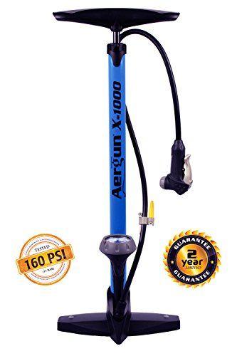 ae1faa9b56a AerGun X-1000 Bike Pump - Floor Pump for Presta & Schrader Bicycle Tire