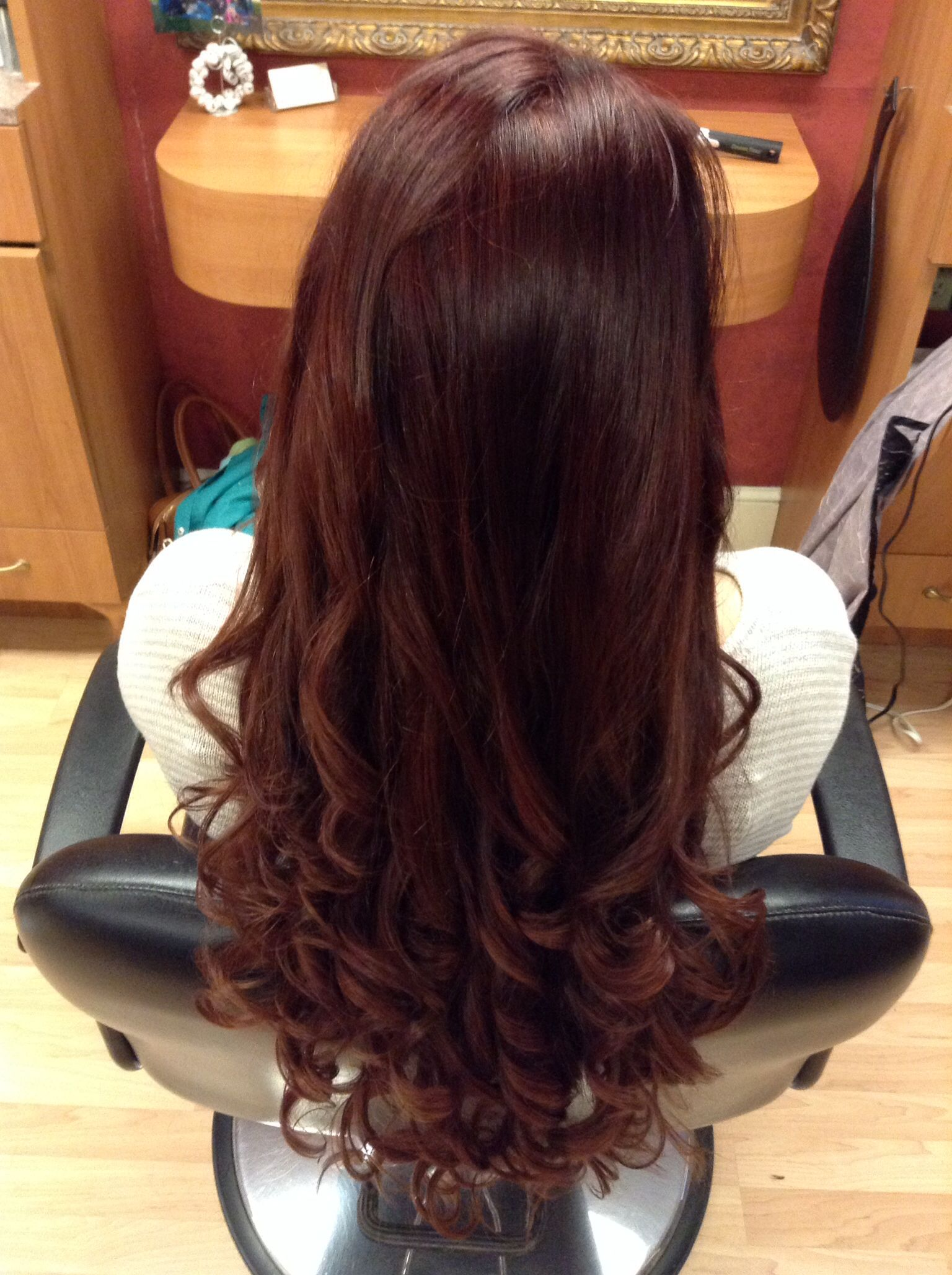 my hair color now a mix between a dark red copper and