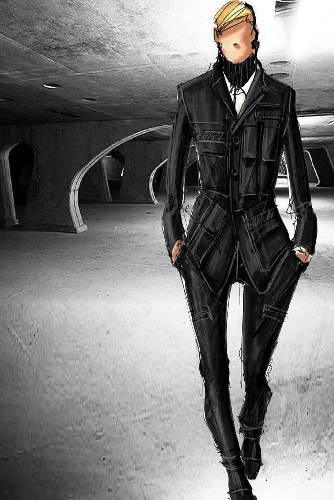 """""""We challenged ourselves to refresh the idea of wearing a uniform, using cutting-edge fabrics and applying innovative construction techniques."""" — Porsche Design sketch"""