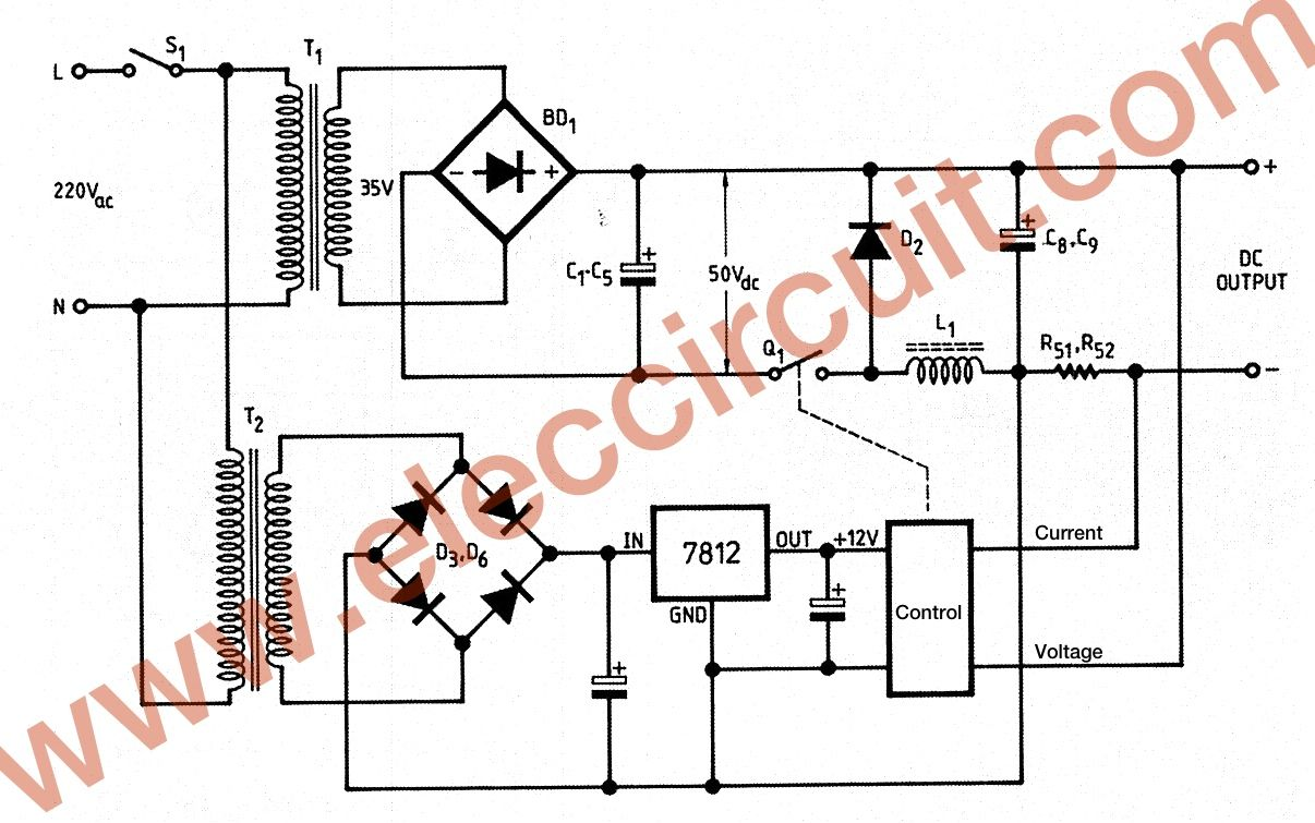 0 45v 8a Dc Switching Power Supply Circuit Project Electronic 5v Regulated With Overvoltage Protection Schematic The Basic Of