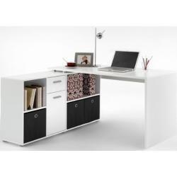 Schreibtisch Arbeitstisch Computertisch Eckschreibtisch Winkeltisch Eiche  Weiß (Weiß)
