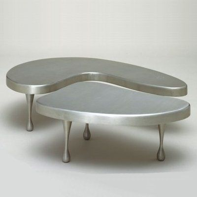 Frederick Kiesler Unique Brushed Cast Aluminum Coffee Table For