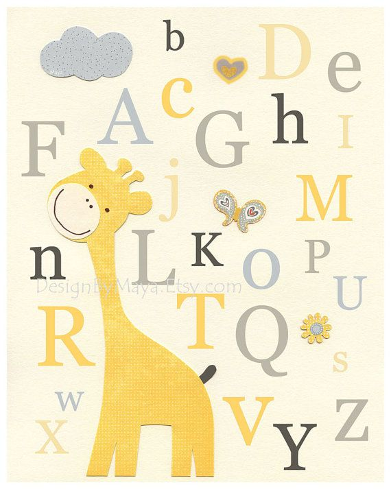 Nursery Art Decor, Kids Print, abc, baby nursery art, baby giraffe ...
