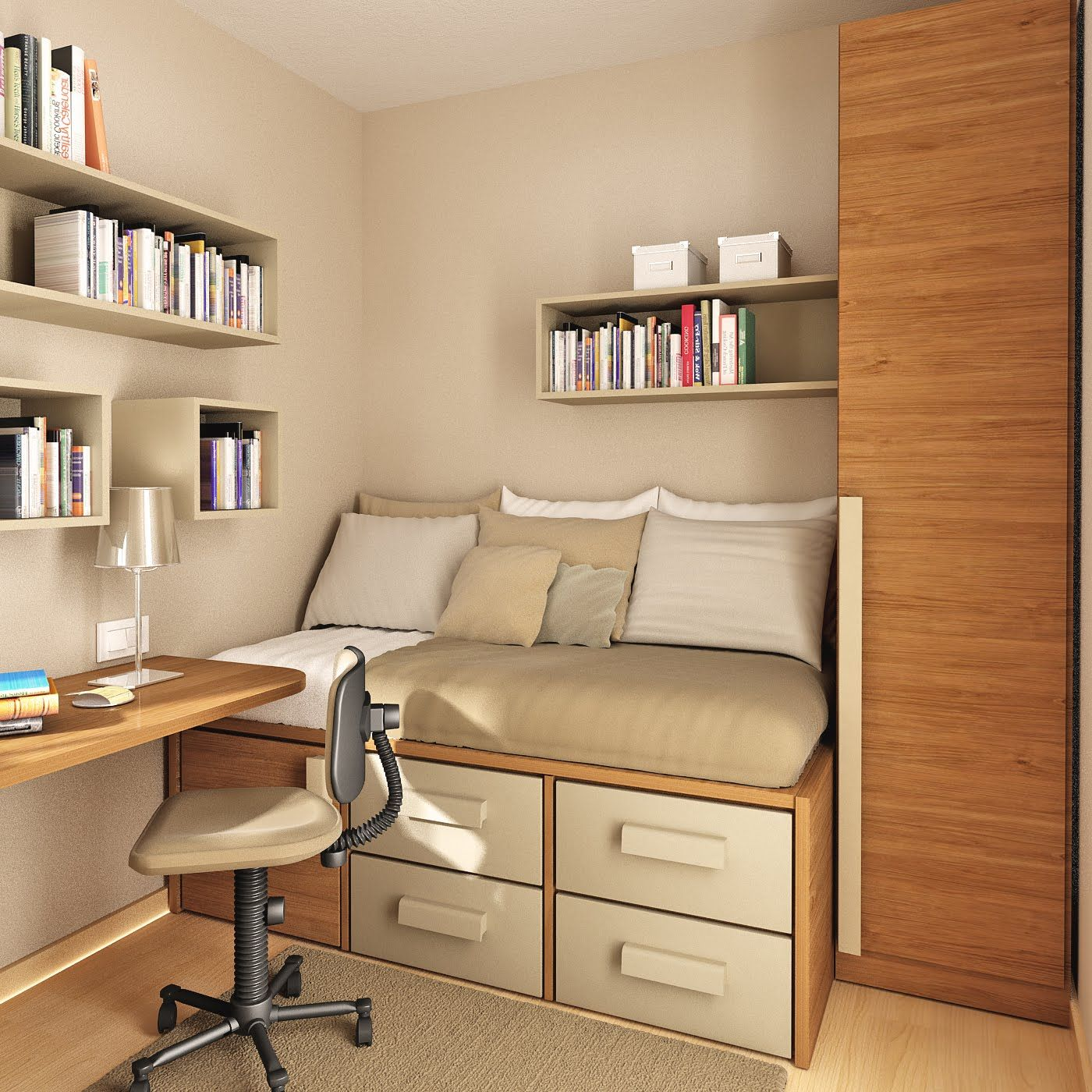 Modern Minimalist 3D Bedroom Layout With Virtual Bookcase And Wall Mounted Desk Design Free Online Room