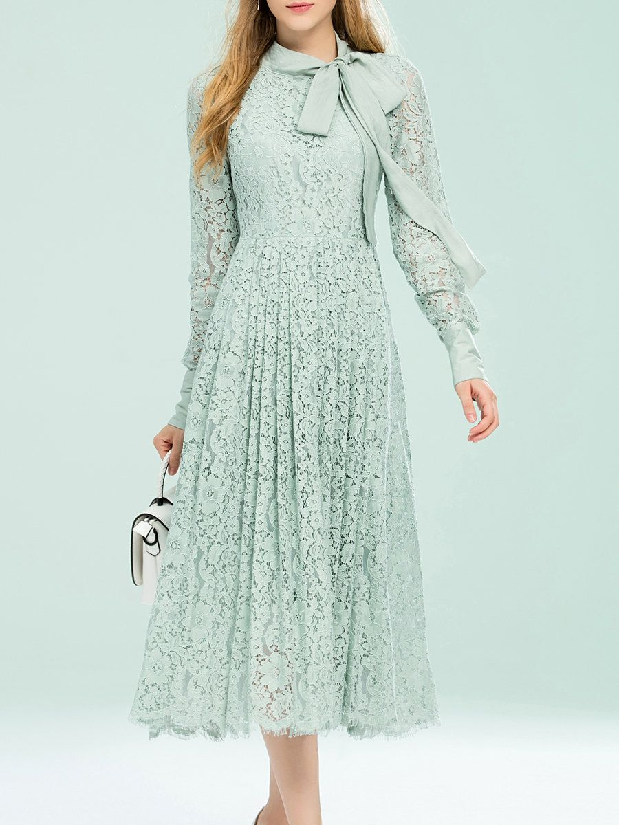AdoreWe StyleWe Midi Dresses - Umi Eason Mint Lace Floral Vintage ...