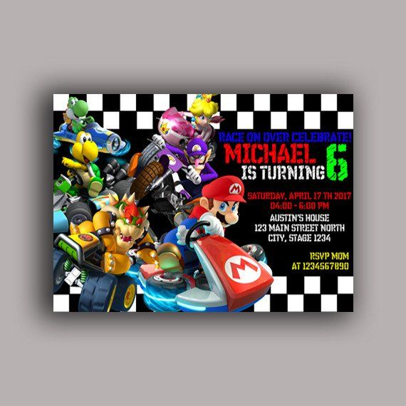 Mario Kart Birthday Invitation Landscape Birthday Party Card Digital