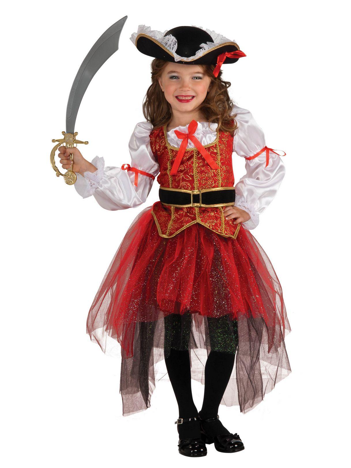 Filles Golden Pirate Fancy Dress Costume