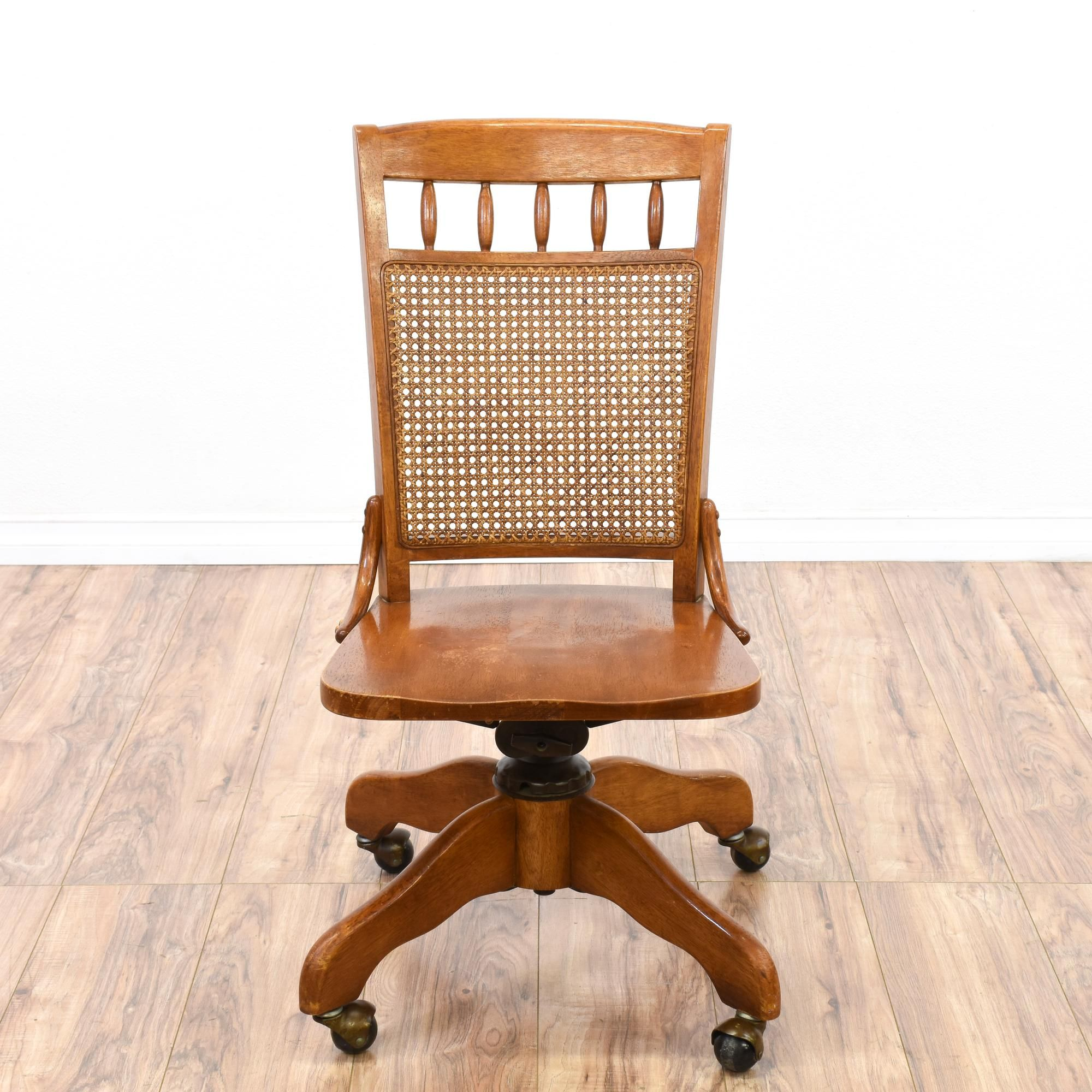 Cane Back Rolling Desk Chair Rolling desk chair, Desk chair