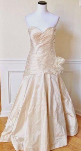JAMES CLIFFORD Ivory Silk Strapless Wedding Gown Formal Dress Worn ...