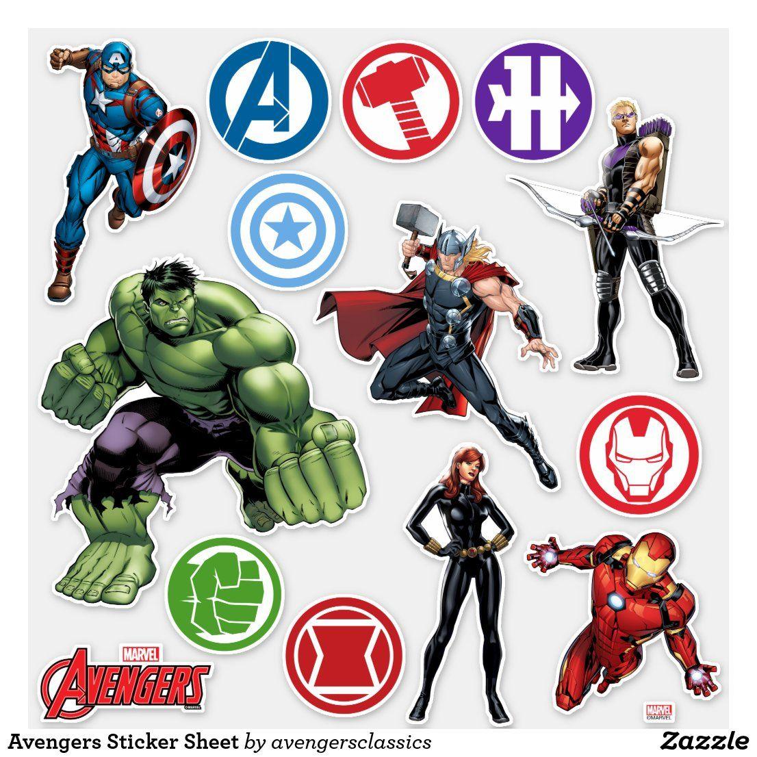 Avengers Sticker Sheet   Zazzle.com in 32   Sticker sheets ...