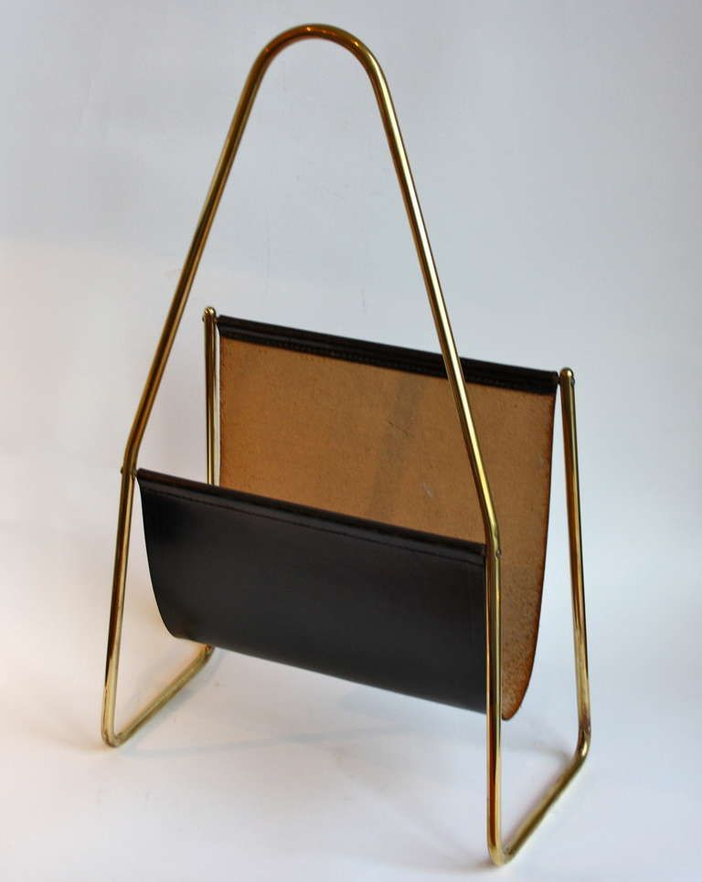 Brass and Leather Magazine Rack by Carl Aubck | From a unique collection  of antique and