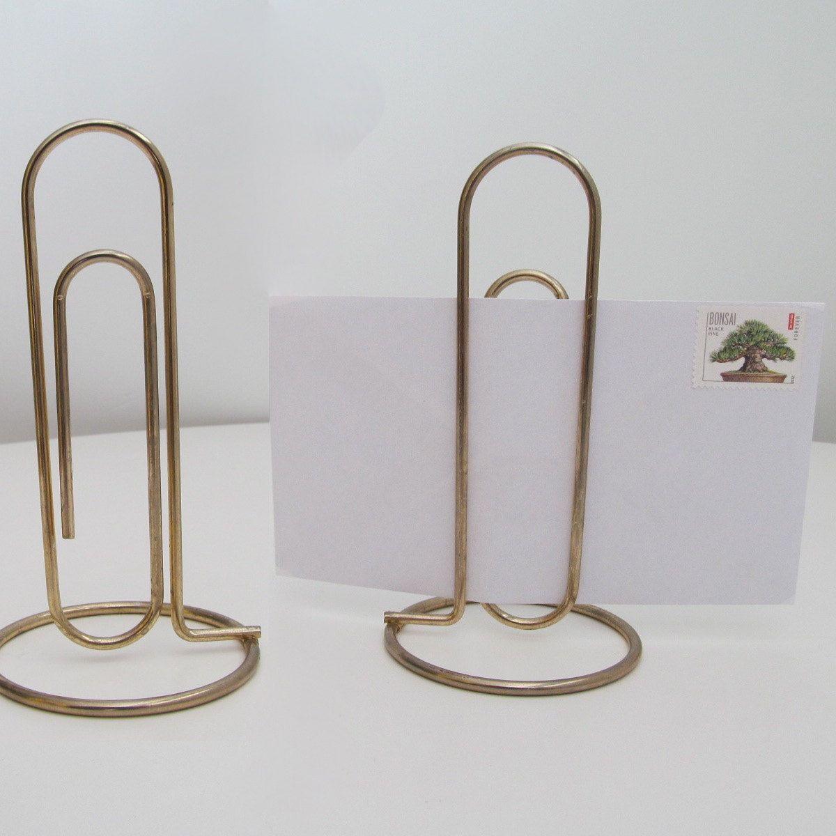 Large Vintage Brass paper Clip - Mid Century Novelty Desk Letter Holder. $8.00, via Etsy.