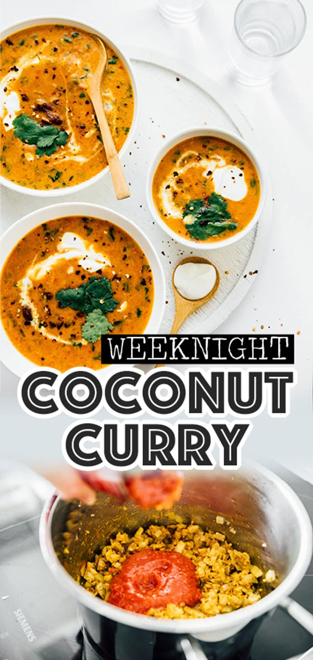 This Coconut Kidney Bean Curry recipe is an easy, flavor packed vegan dinner to whip up on busy weeknights! A healthy dinner idea that the whole family is going to love. #veganrecipes #vegetarianrecipes #dinner #healthyrecipes #curry #asianfood #indianfood #coconutrecipes