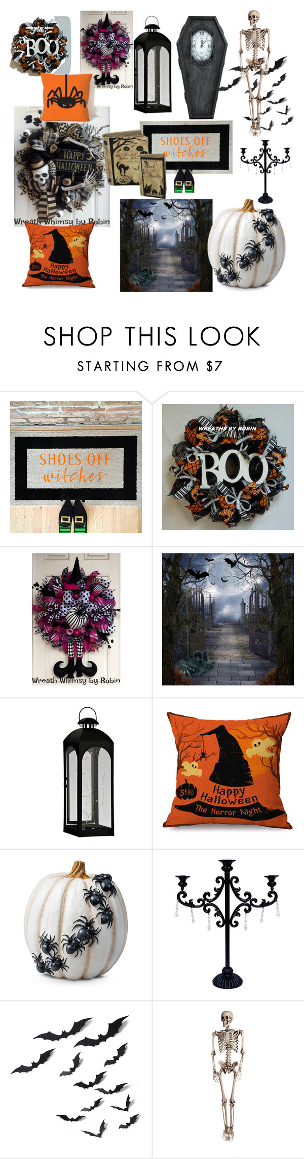 """""""halloween deco"""" by griselvega420 ❤ liked on Polyvore featuring interior, interiors, interior design, home, home decor, interior decorating, Improvements and Halloweenparty"""
