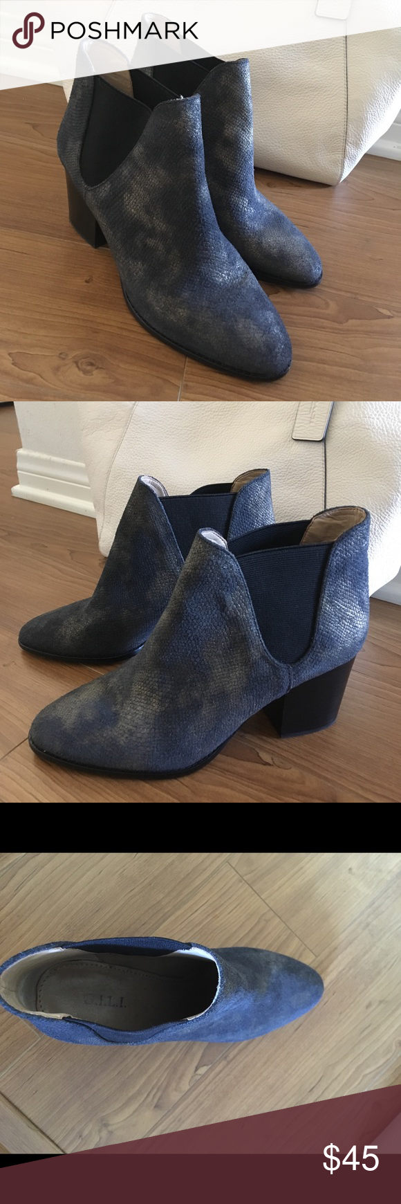BOOTIES 😍 The color of these are very unique, navy and gold. Super comfortable, elastic stretch to slide on and off. Block heel 2in. Size 7. Brand is GILI GILI Shoes Ankle Boots & Booties