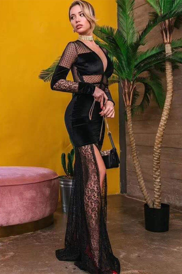 Black lace deep v long sleeve maxi meshed dress chicida