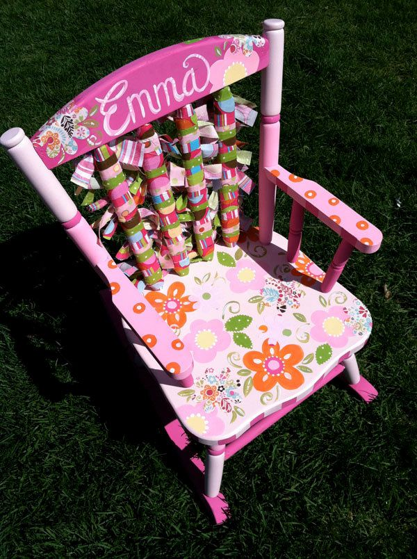 Funky Flowered Hand Painted Rocking Chair By