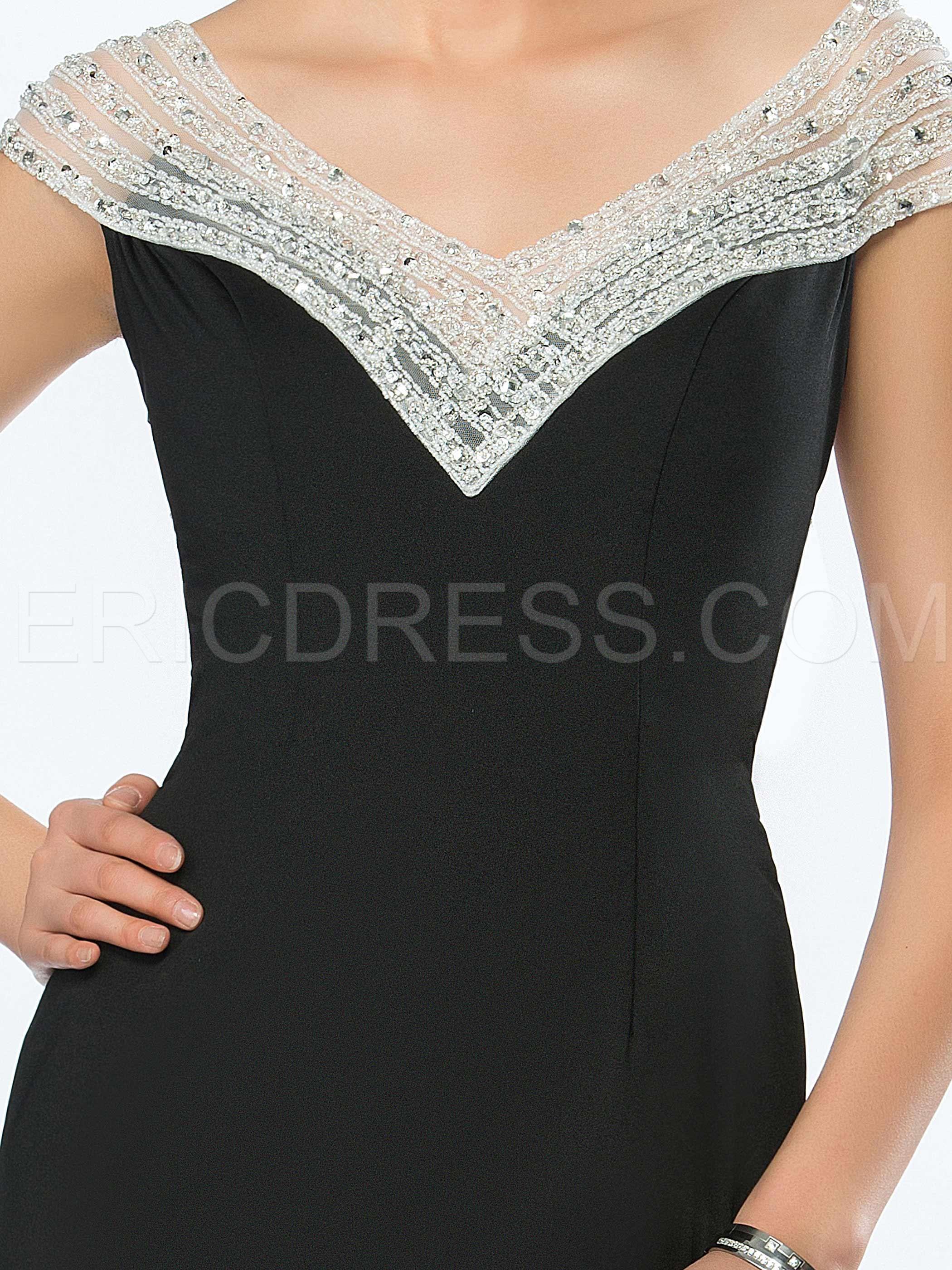 Elegant Mermaid V-Neck Sheer Neck Court Train Evening Dress 5