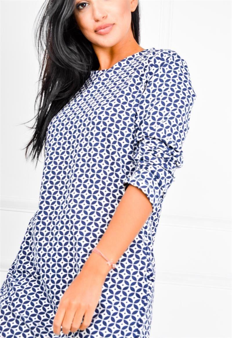 7f4631ae1c Sukienka tunika w geometryczne wzory