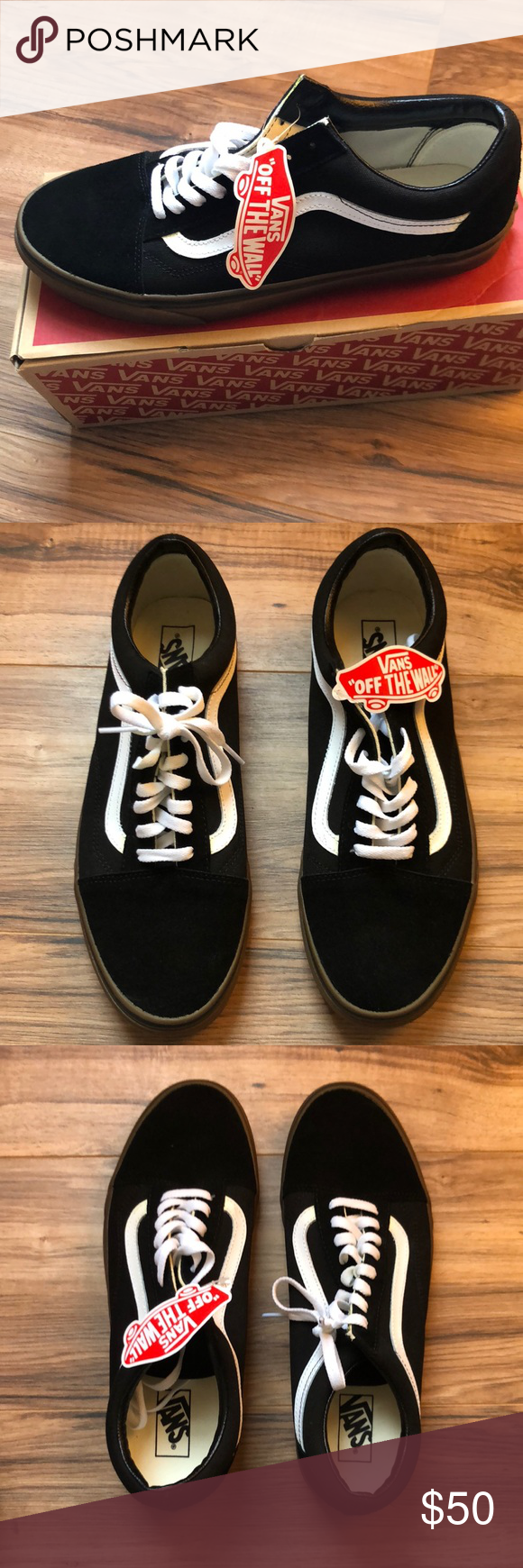 e266f72274 Vans Old Skool Leather Canvas Suede black gum NWT NO TRADES Create a bundle  and I ll offer a private discount! Vans Shoes