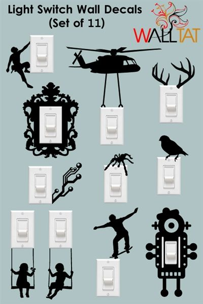 Light Switch And Outlet Wall Decals 11 Pack Walltat Com Diy Wall Painting Wall Paint Designs Wall Painting Decor