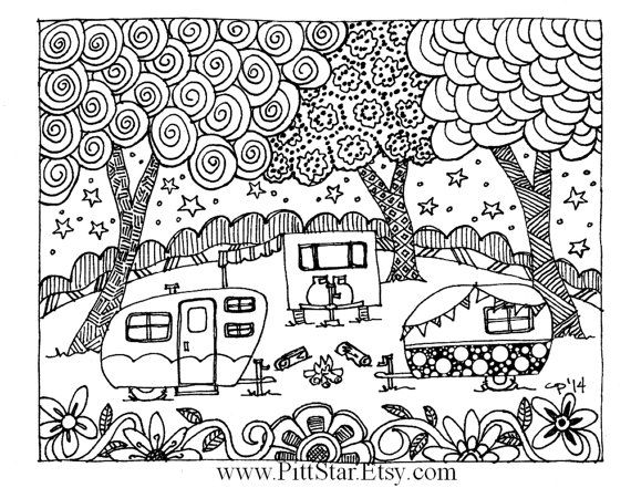 Instant Download Around The Campfire Adult Printable Coloring