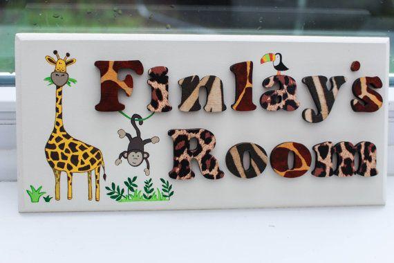 Children\u0027s jungle theme wooden bedroom door sign plaque wood