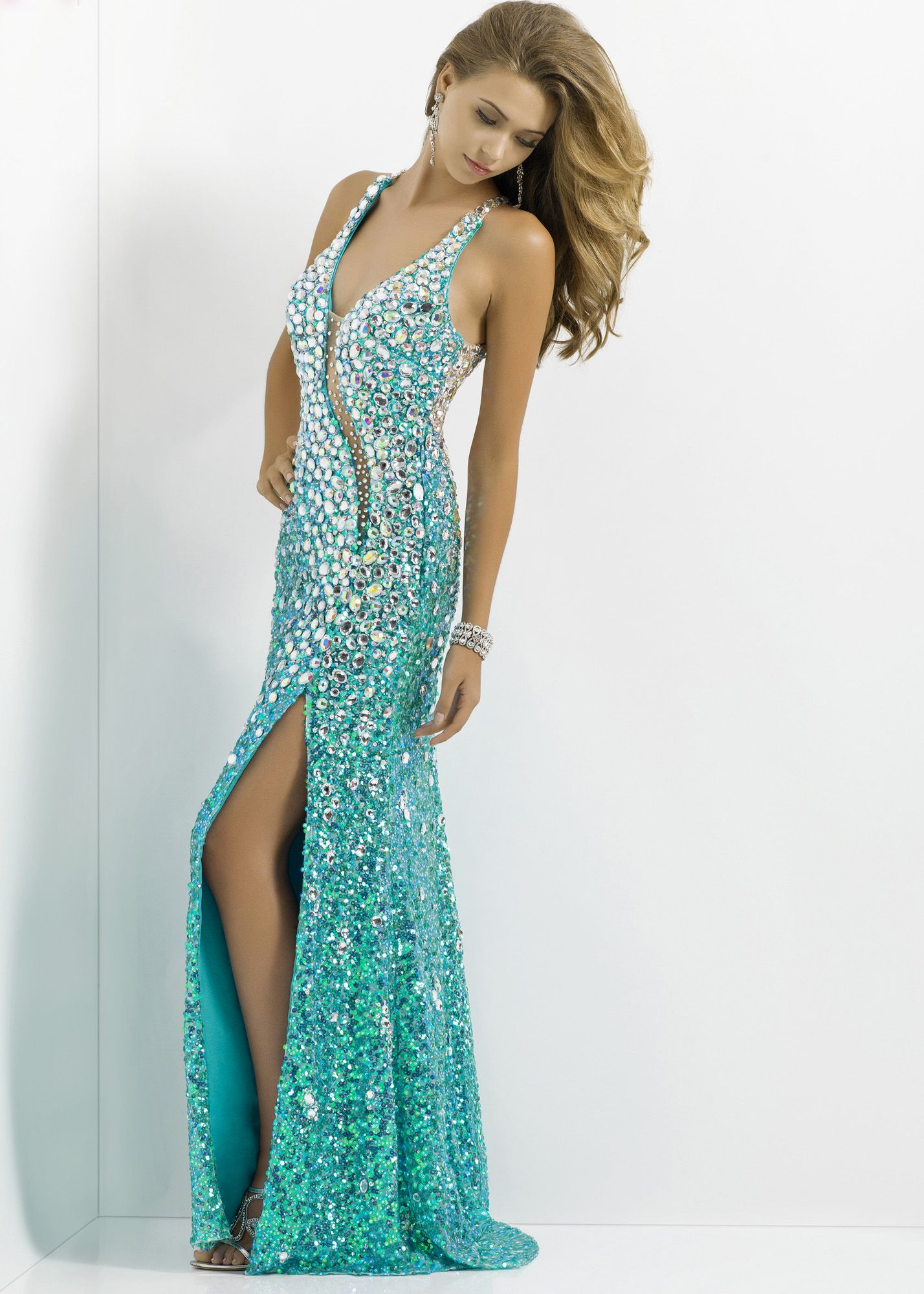Free Shipping For 2014 Prom Dresses Blush Prom 9701 Green V Neck
