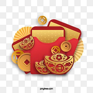 New year red envelope red golden rat year PNG and PSD