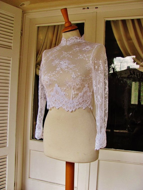Royal Elegance II white bridal lace top white lace blouse bridal bolero jacket wedding bolero on Etsy, $149.90