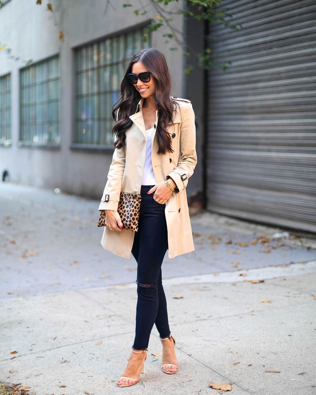 Beige trench, black pants, white top