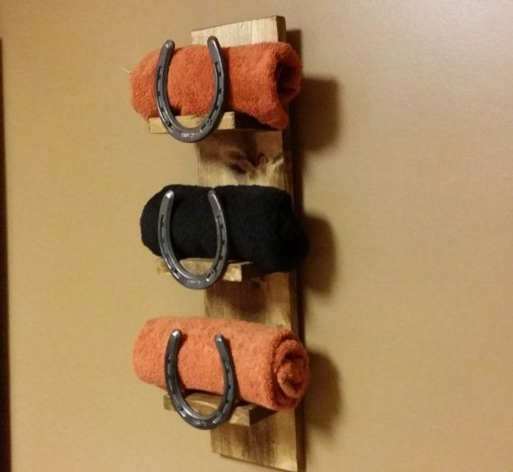 Bathroom Decor Featuring Horseshoes : Rustic home decor towel shelf bath horseshoe