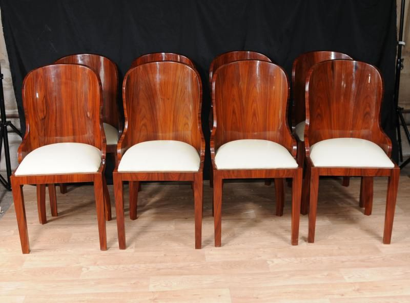 Set Art Deco Tub Dining Chairs Diners Vintage 1920s Furniture