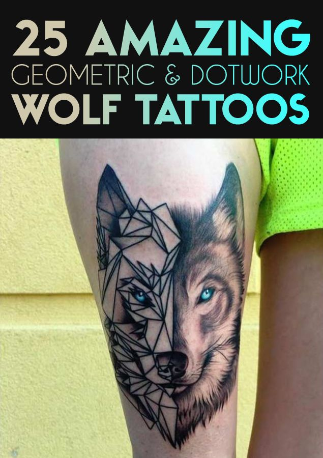 25 Amazing Geometric Dotwork Wolf Tattoos Wolf Tattoos Symbols