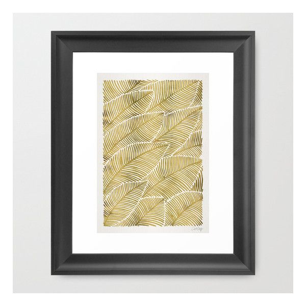 Tropical Gold Framed Art Print (49 AUD) ❤ liked on Polyvore featuring home, home decor, wall art, framed art prints, black framed wall art, black cat illustration, tropical wall art, black home decor and gold framed wall art