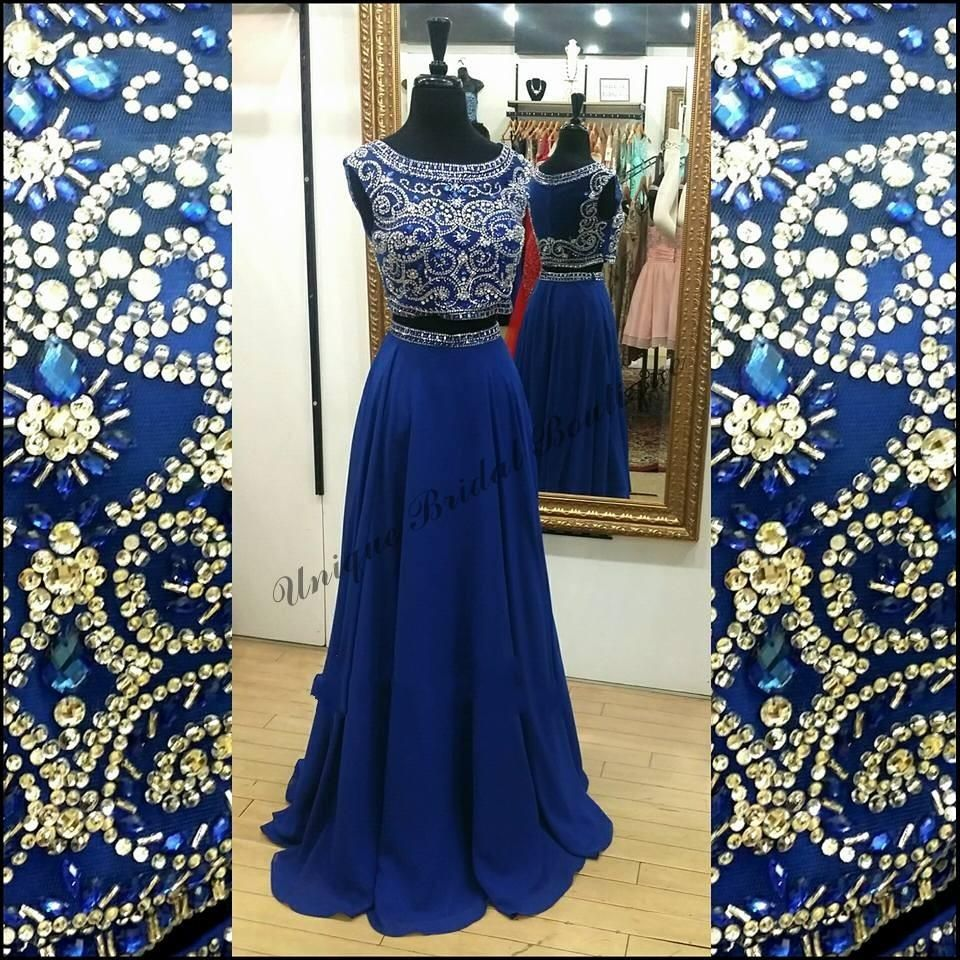 two pieces royal blue prom dresses with cap sleeves and