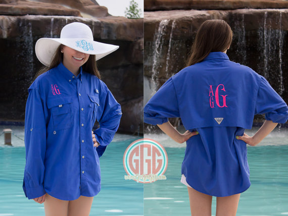 208f2255a4 MENS Columbia PFG Fishing Shirt Swim cover Long Sleeve, monogram Bridal  Party Cover up, bathing suit