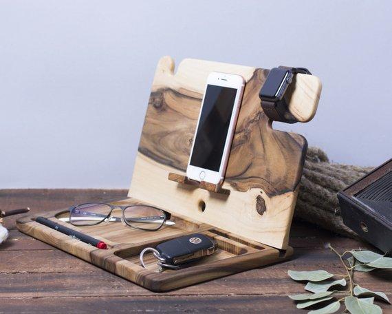 Wooden Organizer Set Wood Desk Organizer Gift For Him Phone Stand