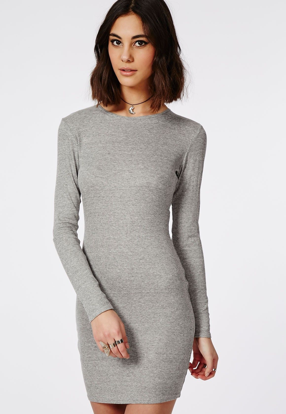 55ff56be38d Long Sleeve Ribbed Bodycon Dress Grey - Dresses - Bodycon Dresses -  Missguided