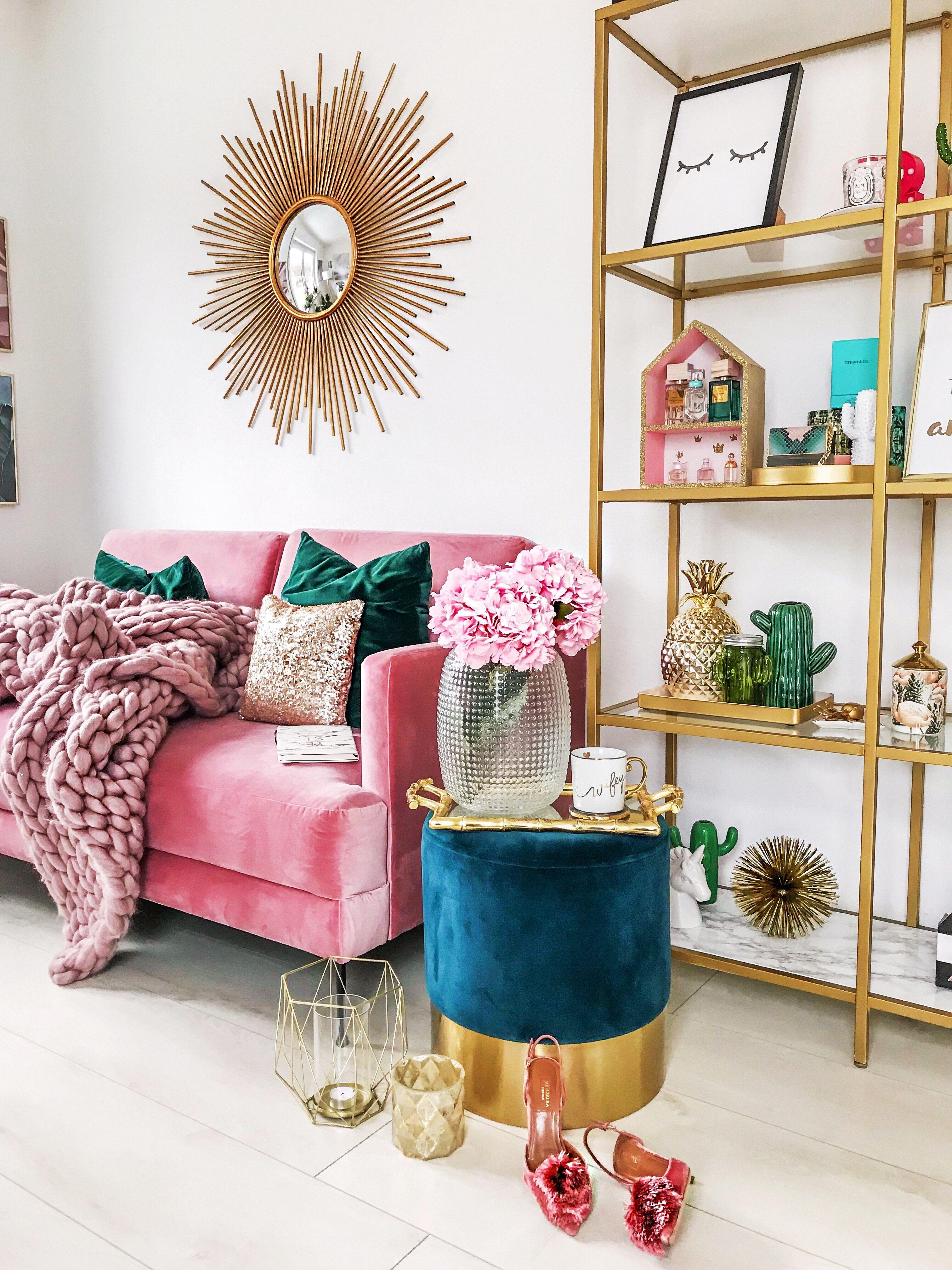 interior haus house girly pink gold westwing sonnenspiegel ikea hack goldenes regal